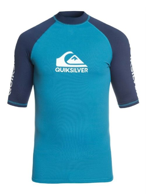 QUIKSILVER MENS RASH VEST.NEW ON TOUR BACKPRINT UPF50+ BLUE TOP T SHIRT 9S 39BP
